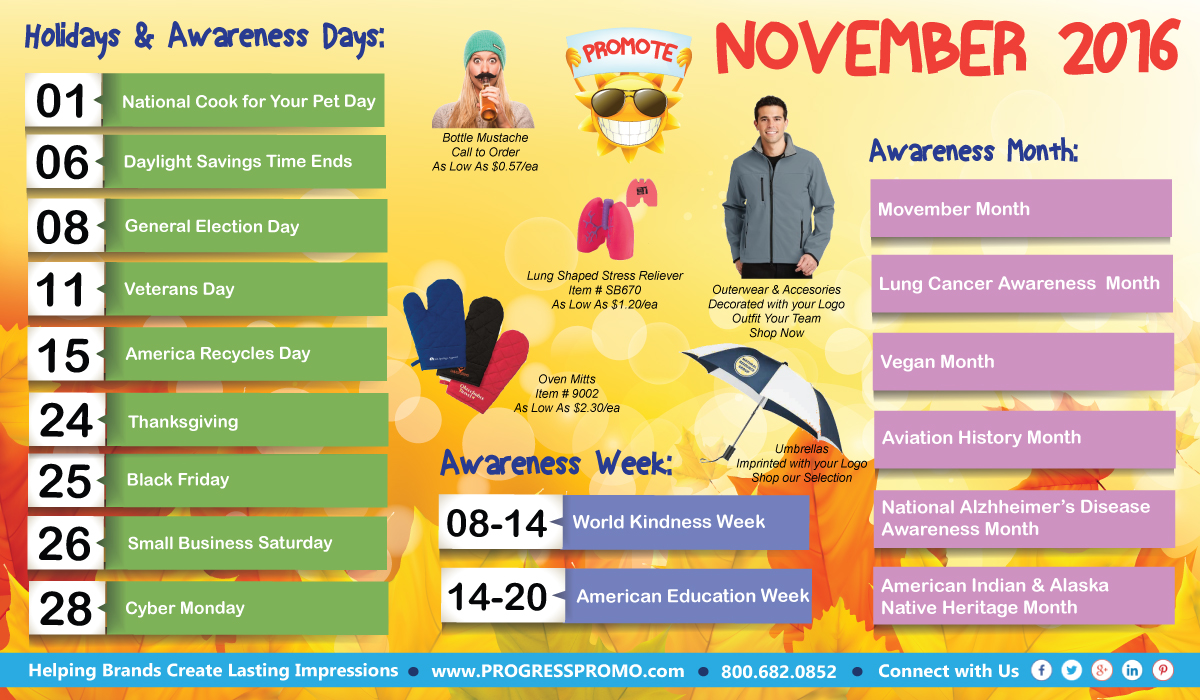 Safety Calendar Ideas : November holidays awareness observances