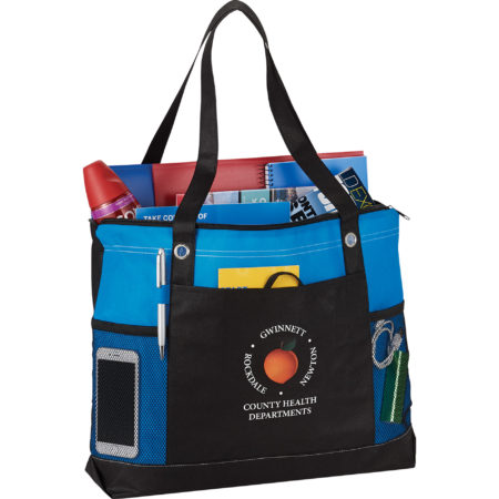 Promotional Products - Imprinted Tote Bag - Convention Bag - Office Giveaways - Non Woven Zippered Convention Tote
