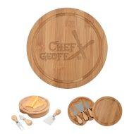 Promotional Custom Logo 3-Piece Bamboo Cheese Server Kit - Laser Engraving