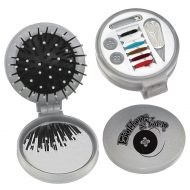 Custom Logo Promotional 3-in-1 Combo Hairbrush Mirror with Sewing Kit