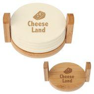 Promotional Custom Logo 4-Coaster Set With Bamboo Holder
