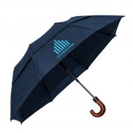 "Promotional Custom Logo 46"" Arc Automatic Open Monarch Umbrella With Wood Mahogany Hook Handle"