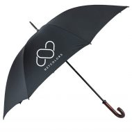 "Custom Logo 60"" Arc Doorman Umbrella with Wood Curved Handle"