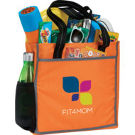 Promotional Products - Imprinted Tote Bag - Corporate Giveaways - Convention Tote - Reflective Frame Tote - Orange