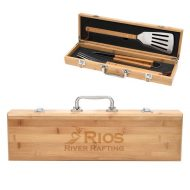 Promotional Custom Logo BBQ Set In Bamboo Case