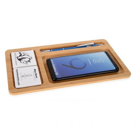Promotional Custom Logo Bamboo Wireless Charging Pad Desktop Organizer