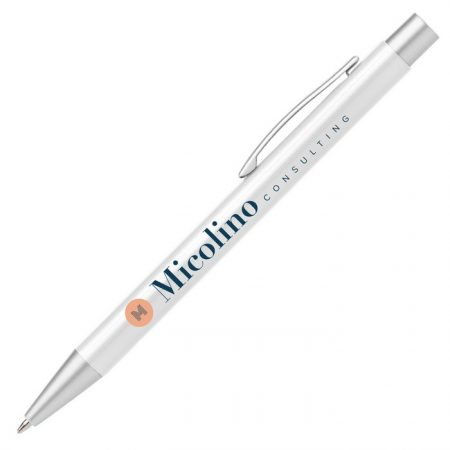 Promotional Custom Logo Bowie Pearl Click Pen - Full Color Imprint