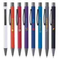 Promotional Custom Logo Bowie Softy Click Pen - Full Color Imprint