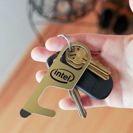Custom Imprinted Metal Brass Door Opener Tool with Stylus Logo