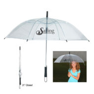 Clear Automatic open Promotional Umbrella with Logo Imprint and 46 Inch Arc