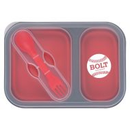Promotional Custom Logo Collapsible 2-Section Food Container With Dual Utensil