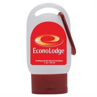 Customizable with Logo Travel Hand Sanitizer with Carabiner 1oz