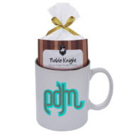 Promotional Custom Logo Colored Stoneware Mug With Mug Cake 11oz