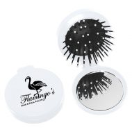 Custom Logo Promotional Compact Travel Hairbrush and Mirror Combo-Compact Travel Hairbrush and Mirror Combo