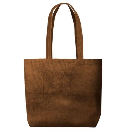 Custom Logo Corduroy Daily Grind Tote Bag Brown