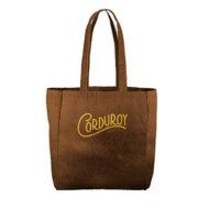 Custom logo Corduroy Grocery Tote Bag Brown
