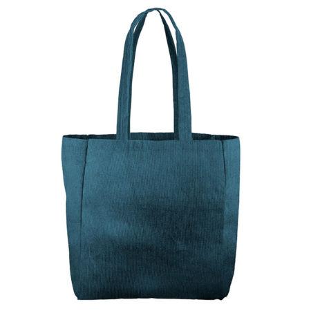 Custom logo Corduroy Grocery Tote Bag Dark-Green