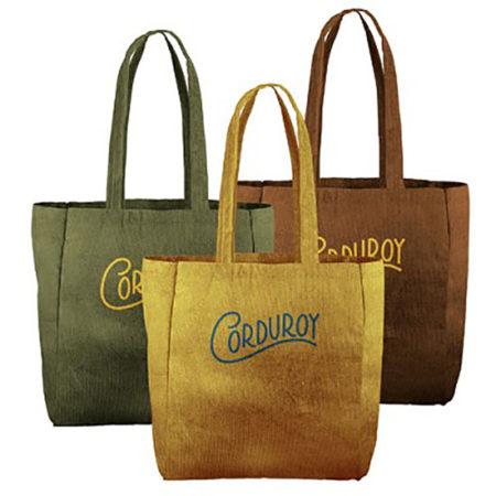Custom logo Corduroy Grocery Tote Bag Group