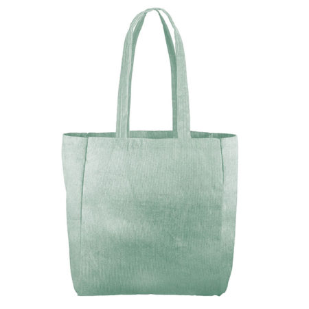 Custom logo Corduroy Grocery Tote Bag Mint