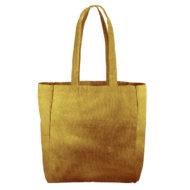 Custom logo Corduroy Grocery Tote Bag Yellow