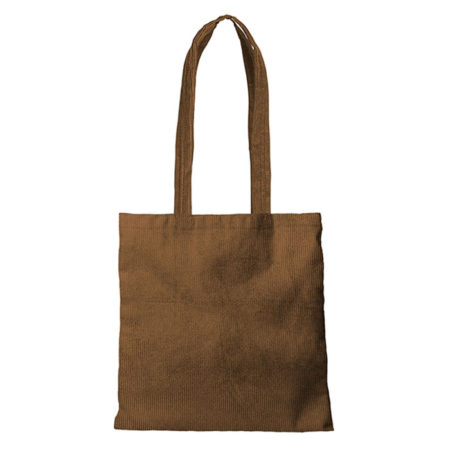 Custom logo Corduroy Main Squeeze Tote Bag Brown