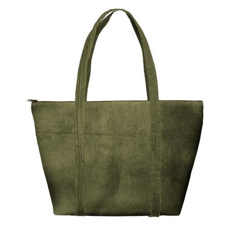 Custom logo Corduroy Weekender Tote Bag Olive