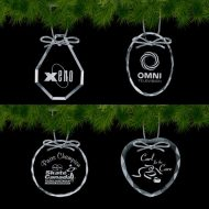 Promotional Custom Logo Crystal Optical Holiday Ornaments - Deep Etch