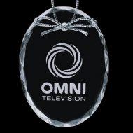 Promotional Custom Logo Crystal Optical Holiday Ornaments - Deep Etch