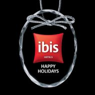 Promotional Custom Logo Crystal Optical Holiday Ornaments - Full Color Imprint