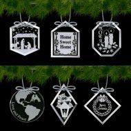 Promotional Custom Logo Crystal Starfire Holiday Ornament – Deep Etch