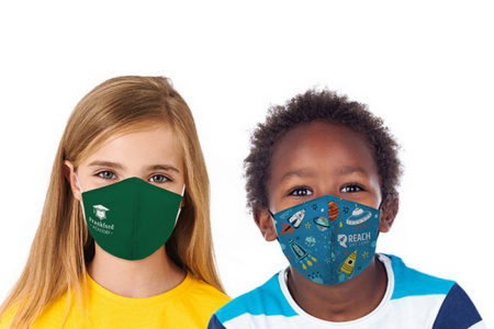 Promotional Custom Logo Custom Full Color Kid's Adjustable Cotton Face Mask