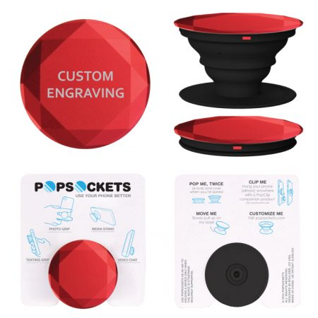 Promotional Products - Custom Diamond Aluminum PopSockets® Phone Grip with Laser Engraving