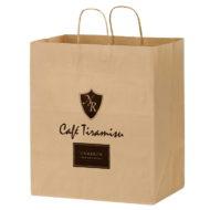 "Promotional Custom Logo Eco-Friendly Paper Take-Out Handle Shopper Bag 14.5"" x 16.25"" x 9.5"""