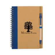 Eco-Inspired Spiral Notebook with Pen-Blue Custom Logo
