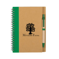 Eco-Inspired Spiral Notebook with Pen-Lime Green Custom Logo