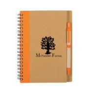 Eco-Inspired Spiral Notebook with Pen-Orange Custom Logo