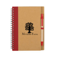 Eco-Inspired Spiral Notebook with Pen-Red Custom Logo