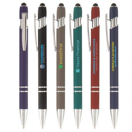 Promotional Custom Logo Ellipse Softy Stylus Pen - Full Color Imprint