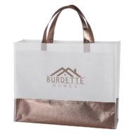 Custom Logo Flair Metallic Accent Non-Woven Shopper Tote Bag