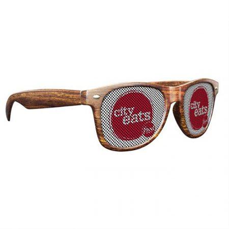 Custom Logo Promotional Full Color LensTek Woodtone Miami Sunglasses