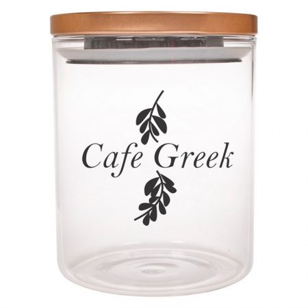 Promotional Custom Logo Glass Container With Stainless Steel Lid