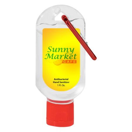 Promotional Custom Logo Hand Sanitizer With Carabiner 1oz