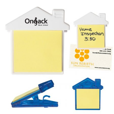 Promotional Custom Logo House Clip With Sticky Notes