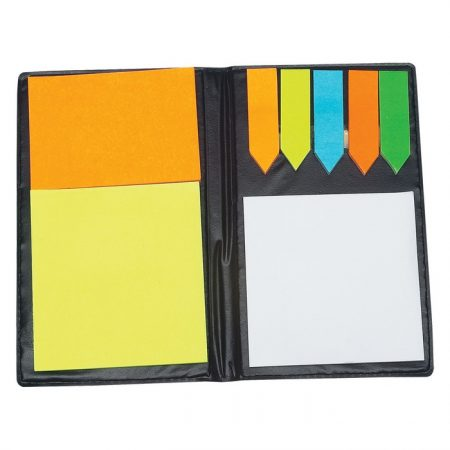 Promotional Custom Logo Leather Look Padfolio With Sticky Notes And Flags