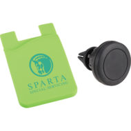 Promotional Products - Imprinted Phone Holder - Logo Decorated Car Phone Mount - Custom Printed Magnetic Phone Mount with Silicone Phone Wallet