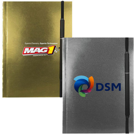 Custom Printed Metallic Cover Notebook with Pen