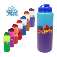 Promotional Custom Mood Color Change Water Bottle with Flip Top Cap 32oz Full Color Imprint
