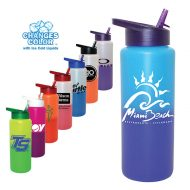 Promotional Custom Mood Color Change Water Bottle with Straw Cap Lid 32oz