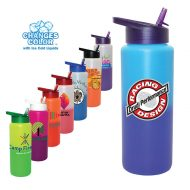 Promotional Custum Mood Color Change Water Bottle with Straw Cap Lip 32oz - Full Color