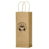 "Promotional Custom Logo Natural Kraft Paper Wine Tote 5.75"" x 12.50"""